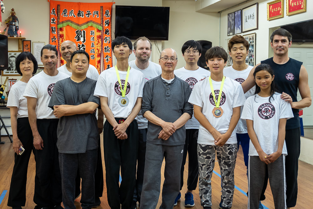 SiGong Elmond Leung after class with students and Sifu Matyas Tamas in August 2019